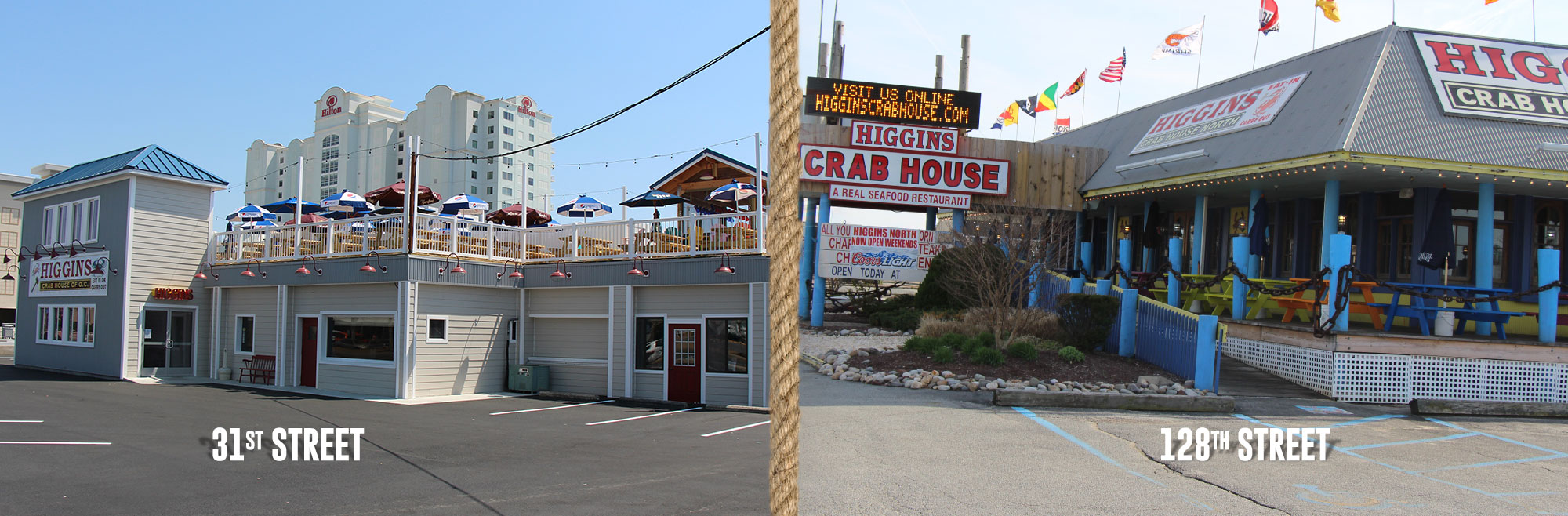 31st street and 128th street for higgins crab house ocean city md